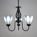 Tiffany Style Conical Pendant Light 3 Lights Metal Glass Hanging Lamp in White for Dining Room