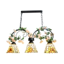 Flower Pendant Lighting 3 Lights Rustic Stained Glass Chandelier for Restaurant Coffee Shop