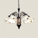 Glass Conical Ceiling Light with Leaf 5 Lights Rustic Chandelier in White for Bedroom Balcony