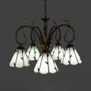 Tiffany Style Cone Chandelier with Leaf 5 Lights Glass Hanging Lamp in White for Shop Cafe