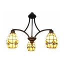 Stained Glass Pendant Light 3 Lights Tiffany Style Chandelier in Beige for Hallway Bathroom