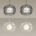 Black/White Hollow Globe Pendant Light 2 Lights Simple Style Metal Hanging Light for Restaurant