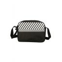 Stylish Color Block Diagonal Stripes Printed Crossbody Messenger Bag 24*6*17 CM