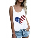 New Trendy Heart Flag Printed Round Neck Sleeveless Racerback Tank For Women