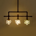Colorful Star Shade Suspension Light 3 Lights Industrial Glass Metal Chandelier for Bar