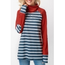 Women's Red and Blue Color Block Stripe Patch High Neck Long Sleeve Button Detail T-shirt
