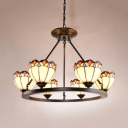 6 Lights Dome Suspension Light Tiffany Style Antique Stained Glass Chandelier for Shop