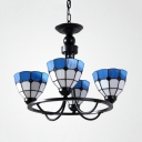 Glass Dome Shade Chandelier Kitchen 4 Lights Mediterranean Style Pendant Light in Blue