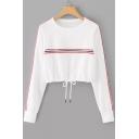 Women's Tape Striped Print Long Sleeve Drawstring Hem White Crop Sweatshirt