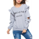 Fashion Women's Letter MOI ET TOI Print Round Neck Hollow Out Ruffle Design Long Sleeve Gray Loose Fit Sweatshirt