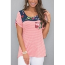 New Trendy Red Round Neck Short Sleeve Floral Print Patch Stripes Cotton Tee For Women