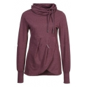 Simple Purple Plain Cowl Neck Long Sleeve Asymmetric Hem Drawstring Hoodie