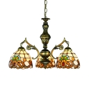 Tiffany Style Victorian Pendant Lamp Dome Shade 3 Lights Stained Glass Chandelier for Shop