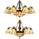 Cone Dome Living Room Chandelier with Leaf Glass Tiffany Style Vintage Pendant Light in Beige