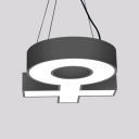 Creative Symbol Shape Suspension Light Aluminum Black/White LED Hanging Light with White/Yellow Lighting for Office