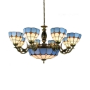 Dome Shade Hotel Hanging Light Glass 11 Lights Tiffany Style Nautical Chandelier in Blue