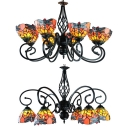 Rustic Style Dragonfly Chandelier 6/8 Lights Stained Glass Ceiling Light for Living Room