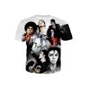 Men's Hot Fashion Short Sleeve Letter Michael Jackson 3D Character Print White Graphic T-Shirts