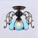 Tiffany Style Vintage Ceiling Mount Light Petal 1 Light Glass Metal Ceiling Lamp for Bathroom