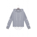 Hot Fashion Women's Drawstring Hood Cut-Out Hem Long Sleeve Gray Loose Fit Hoodie