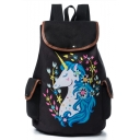 New Collection Floral Unicorn Printed Black School Bag Backpack 28*11*39 CM