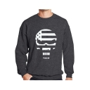 Men's Cool Skull Printed Long Sleeve Round Neck Sport Pullover Sweatshirt