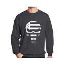 Men's Cool Skull Printed Long Sleeve Round Neck Sport Pullover Sweatshirt