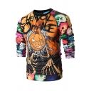 Halloween Skull Pumpkin 3D Printed Basic Round Neck Long Sleeve Fitted Sweatshirt