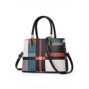 Trendy Color Block Plaid Pattern Shoulder Handbag for Women 28*13*20 CM