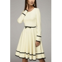 Women's Stylish Round Neck Long Sleeve Plain Fitted Midi Pleated Beige Dress