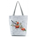 Designer Fruit Printed White Shoulder Tote Bag 27*11*38 CM