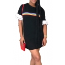Women's Hot Fashion Round Neck Ruffle Short Sleeve Rainbow Stripe Mini Black Shift Dress