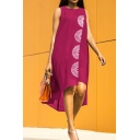 Women's Fashion Round Neck Sleeveless Print Asymmetric Hem Midi Beach Chiffon Dress