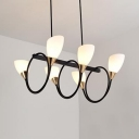 Nordic Style Up Lighting Island Pendant 6/8 Lights Frosted Glass Suspension Light in Black for Hotel