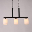 3 Lights Cylinder Island Fixture Simple Style Frosted Glass Pendant Light in White for Kitchen