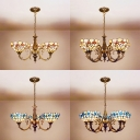Glass Dome Shade Ceiling Light with Red/Blue Flower Bedroom 3/8 Lights Tiffany Style Chandelier