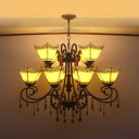 Blue/Sky Blue/Yellow Craftsman Chandelier Vintage Style Glass Hanging Lighting with Crystal