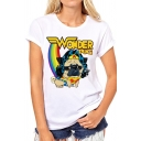 WONDER PUG Letter Cartoon Bulldog Rainbow Printed White Round Neck Short Sleeve Tee