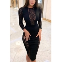 Trendy Black Round Neck Long Sleeve Hollow Lace Patched Plain Midi Bodycon Pencil Dress