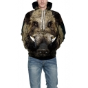 New Arrival 3D Wild Boar Printed Black Drawstring Hoodie with Pocket