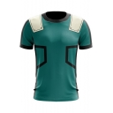 Cool Comic 3D Printed Dark Green Round Neck Short Sleeve Tee