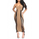 Hot Fashion Spaghetti Straps Sleeveless Lace Up Hollow Plain Maxi Cami Bodycon Dress