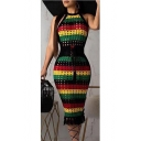 Womens Colorblock Striped Halter Sleeveless Hollow Out Tie Waist Midi Bodycon Pencil Dress