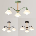 Cone Restaurant Suspension Light Frosted Glass 3 Lights Simple Style Chandelier in Black/Gray/Green