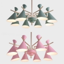 Contemporary Horn Chandelier Metal 8 Lights Macaron Pink/Green Pendant Light for Living Room