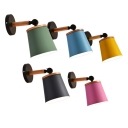 Simple Style Bucket Wall Light Metal 1 Light Macaron Color Rotatable Wall Sconce for Living Room