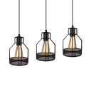 Metal Mesh Pendant Lamp 3 Lights Vintage Style Ceiling Light in Black for Dining Room