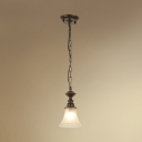 1 Light Bell Shade Ceiling Light Vintage Style Frosted Glass Pendant Lamp in White for Hallway