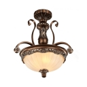 Vintage Style Dome Chandelier 3 Lights Fluted Frosted Glass Hanging Lamp for Dining Room