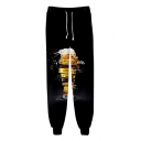 Guys Black Cool 3D Beer Printed Drawstring Waist Cotton Loose Joggers Sweatpants